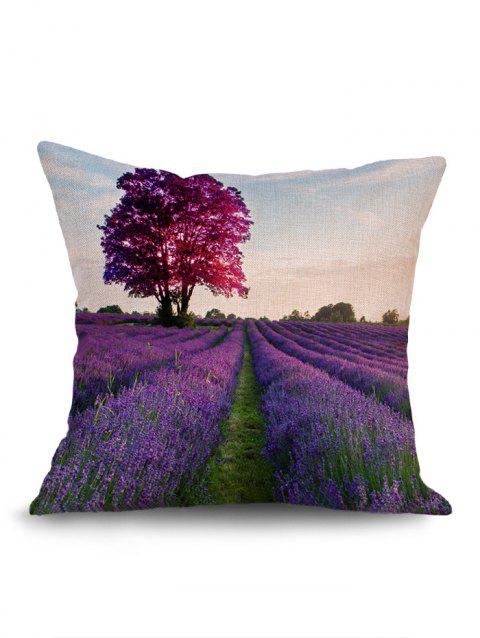 Lavender Filesds with Tree Print Cushion Pillow Case - PURPLE W18 INCH * L18 INCH