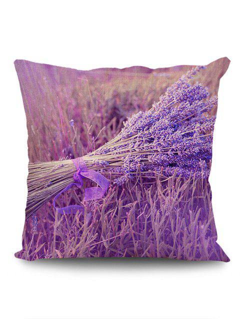 A Bunch of Lavender Pattern Square Pillow Case - PURPLE W18 INCH * L18 INCH