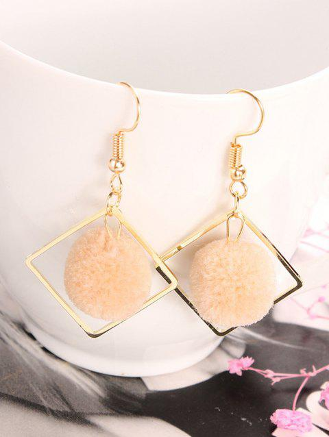 Simple Hairball Hollow Square Hook Earrings - KHAKI