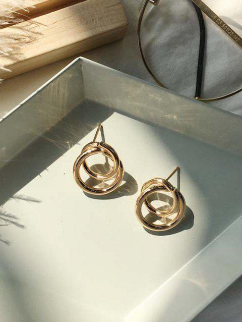 Alloy Double Circle Simple Stud Earrings - GOLDEN