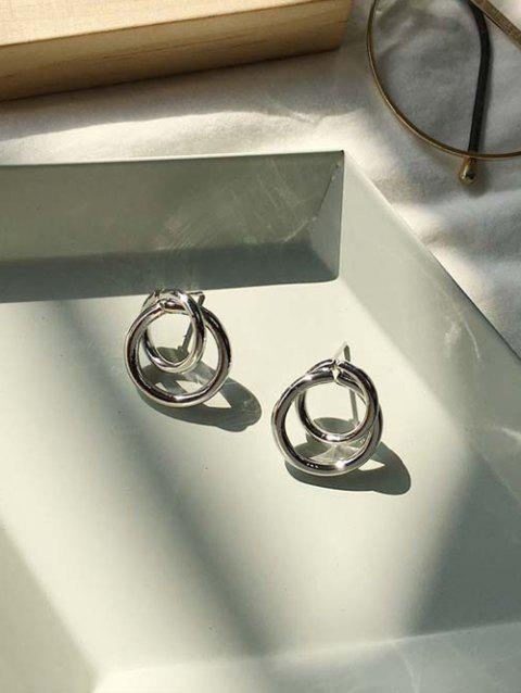 Alloy Double Circle Simple Stud Earrings - SILVER