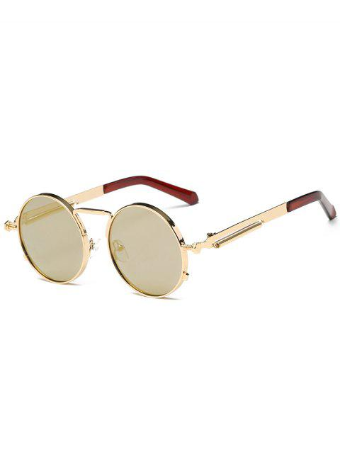 Metal Full Frame Round Driver Sunglasses - GOLDEN/LUXURY GOLD COLOR
