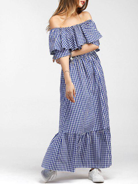 Off The Shoulder Tartan Maxi Dress - BLUE L