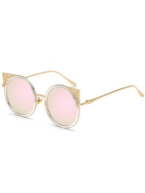 Metal Hollow Out Frame Round Sunglasses - GOLD FRAME / PINK LENS