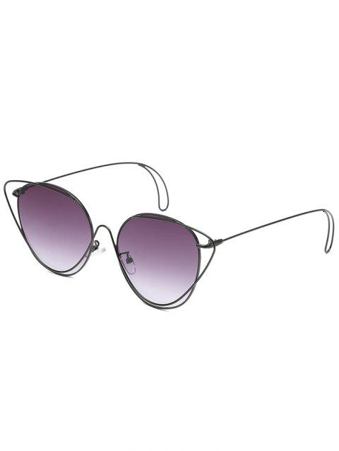 Anti UV Hollow Out Oval Sunglasses - BLACK/GRADUAL GREY