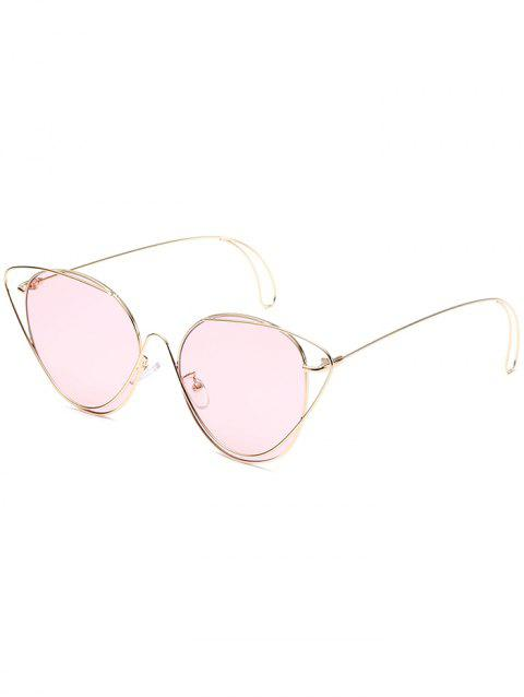 Anti UV Hollow Out Oval Sunglasses - GOLD FRAME / PINK LENS