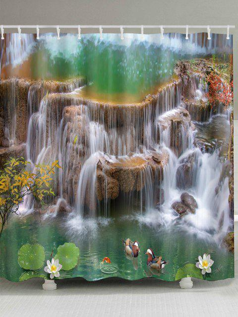 Waterfall Lotus Mandarin Duck Print Waterproof Bath Curtain - multicolor A W71 INCH * L71 INCH