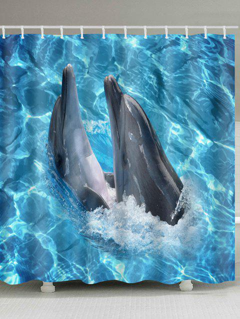 Oceanic Dophins Playing Print Shower Curtain - BUTTERFLY BLUE W71 INCH * L79 INCH