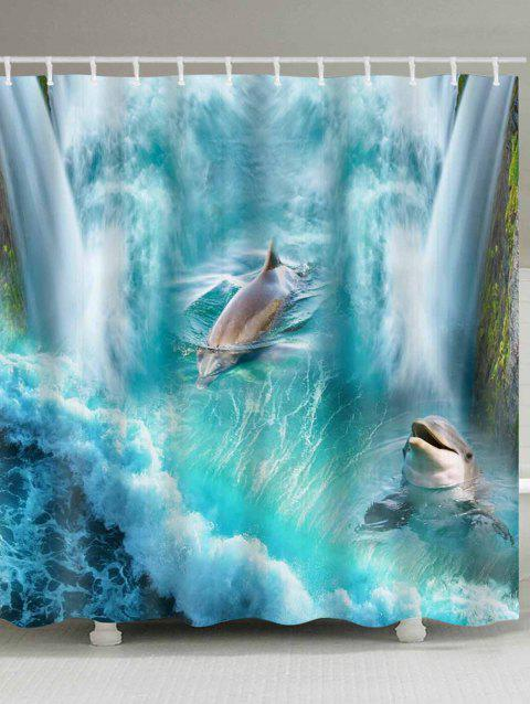 3D Waterfall Dolphin Print Waterproof Shower Bath Curtain - BLUE LAGOON W71 INCH * L79 INCH