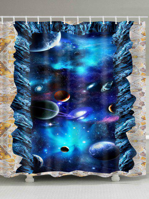 3D Starry Sky Planets Print Shower Curtain - BLUE W71 INCH * L79 INCH
