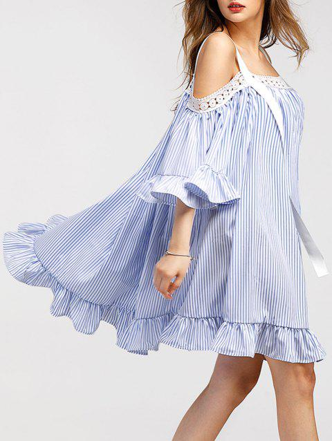 Trumpet Sleeve Mini Vertical Striped Dress - BLUE XL