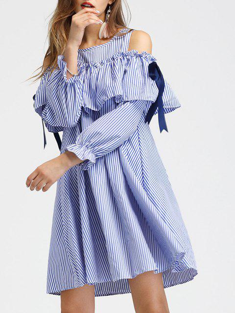 Flounce Panel Short Striped Dress - BLUE M