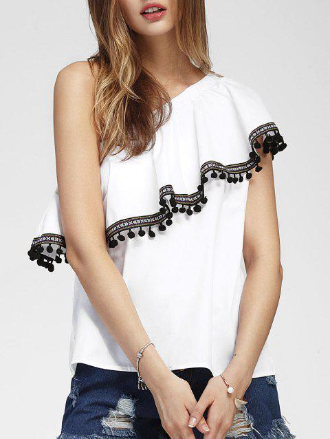 One Shoulder Summer Flounce Blouse - WHITE M