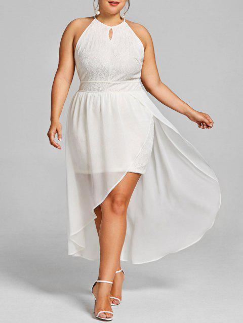 Plus Size Open Shoulder Asymmetric Lace Dress - WHITE 3XL