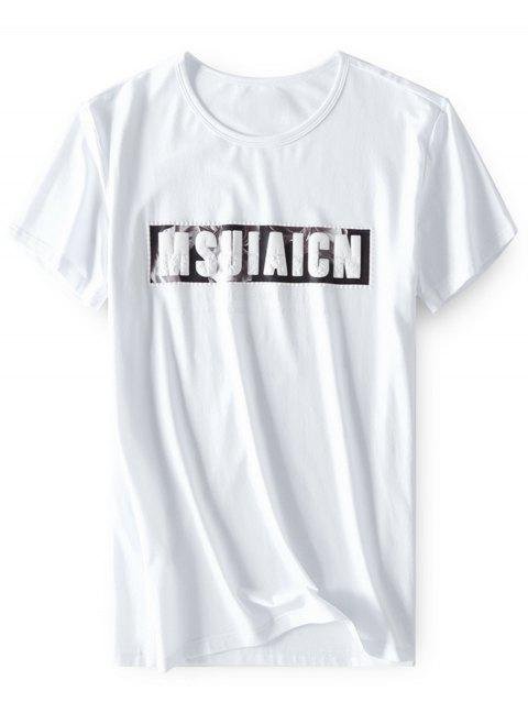 Emboss Printed Stretchy T-shirt - WHITE L