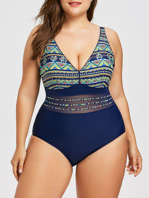 Tribal Plus Size Mesh Panel Swimwear - GREEN 5XL