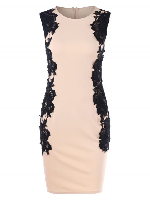 Lace Insert Sleeveless Bodycon Dress - YELLOWISH PINK M