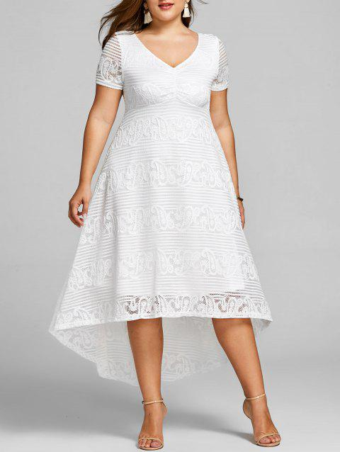 Custom 2018 Plus Size High Low Lace Party Dress In White 5xl