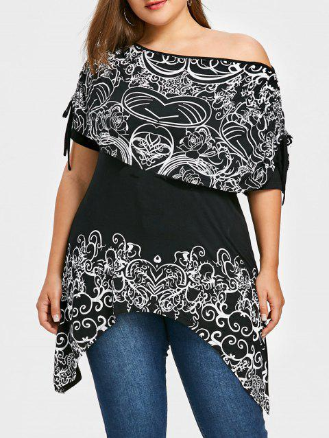 Plus Size Skew Collar Floral Capelet T-shirt - BLACK 5XL