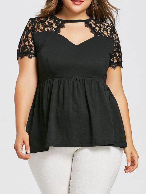 8bec1151b2523 LIMITED OFFER  2019 Cutout Plus Size Empire Waist T-shirt In BLACK ...