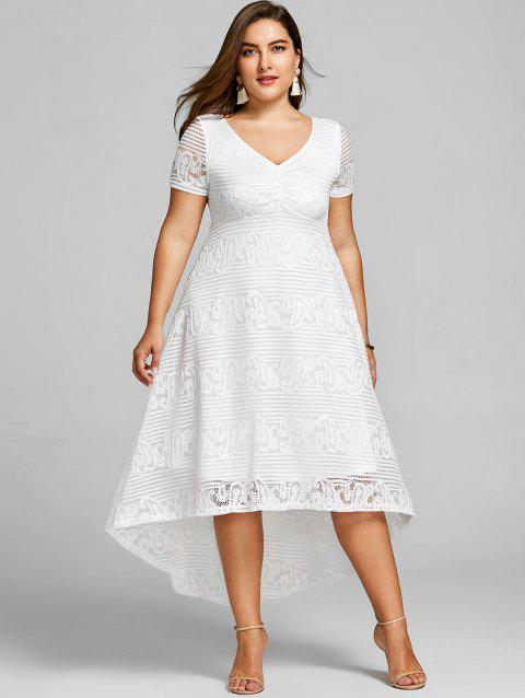 41% OFF] 2019 Plus Size High Low Lace Party Dress In WHITE | DressLily