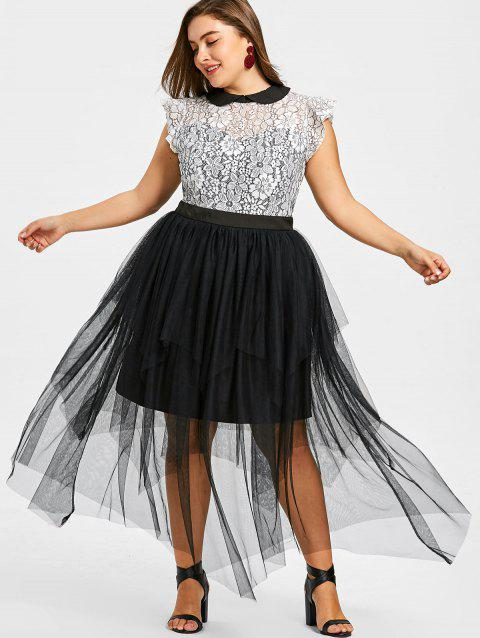 Plus Size Cap Sleeve Tiered Tulle Dress
