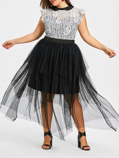 Plus Size Cap Sleeve Tiered Tulle Dress - WHITE/BLACK XL