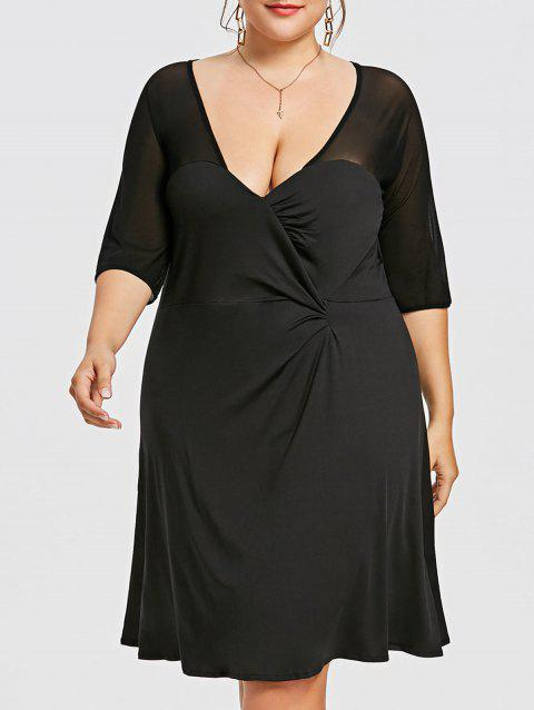 Semi Sheer Plus Size Work Dress - BLACK 4XL