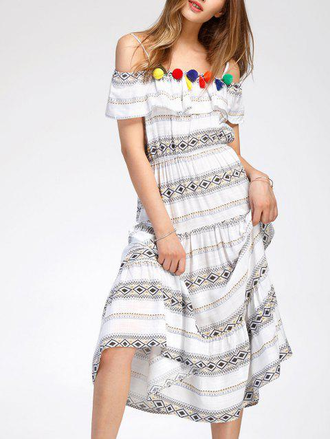 High Waisted Midi Bohemian Dress - WHITE L