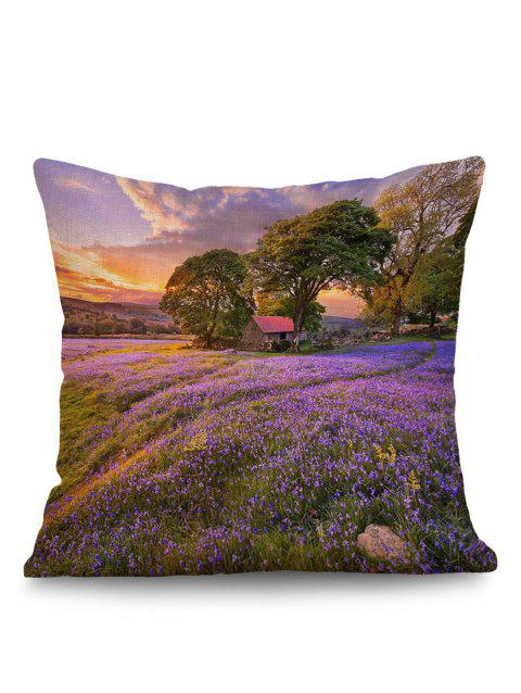Lavender Tree Cabin Print Cushion Pillow Case - PURPLE W18 INCH * L18 INCH