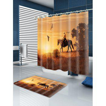Horseman Birds Printed Showerproof Bath Curtain - BROWN W59 INCH * L71 INCH