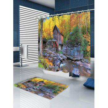 Forest Stream House Print Waterproof Shower Curtain - multicolor W59 INCH * L71 INCH