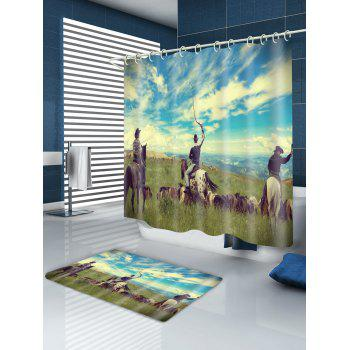 Three Horse Riders Print Water-repellent Shower Curtain - BLUE GREEN W71 INCH * L71 INCH
