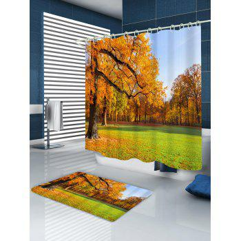 Maple Forest Print Waterproof Shower Curtain - CANTALOUPE W71 INCH * L71 INCH
