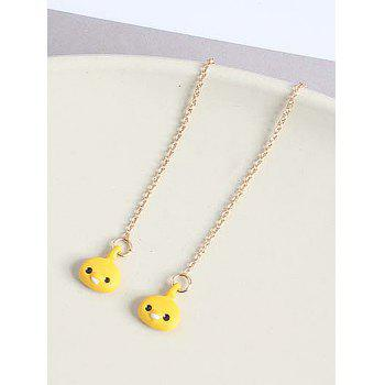 Thread Chain Kawaii Chick Dangle Earrings - YELLOW