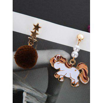 Asymmetric Enamel Unicorn Star Hair Ball Drop Earrings - WHITE