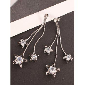 Star Fringed Rhinestone Long Chain Stud Drop Earrings - SILVER