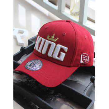 Crown Embroidery Adjustable Snapback Hat - RED