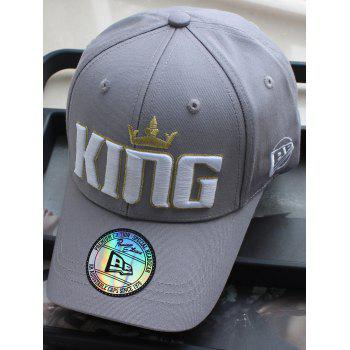 Crown Embroidery Adjustable Snapback Hat - GRAY