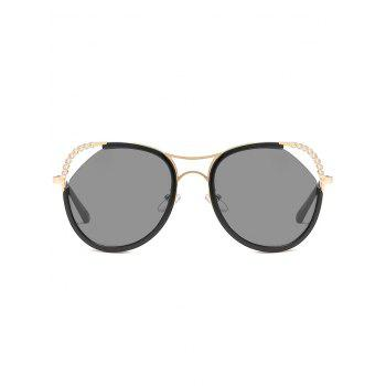 Anti-Fatigue Rhinestone Inlaid Hollow Out Sunglasses - GOLDEN/GREY