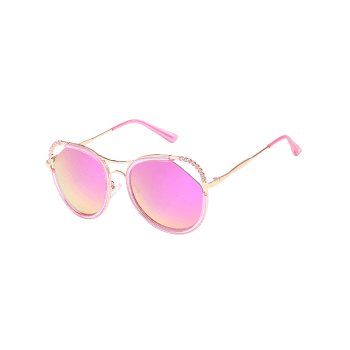 Anti-Fatigue Rhinestone Inlaid Hollow Out Sunglasses - GOLD FRAME / PINK LENS