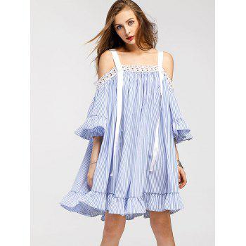 Trumpet Sleeve Mini Vertical Striped Dress - BLUE M