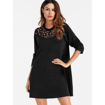 Lace Panel Full Sleeve Mini Shift Dress - BLACK XL