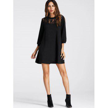 Lace Panel Mini Tunic Dress - BLACK M