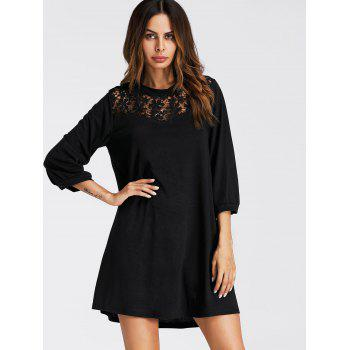 Lace Panel Mini Tunic Dress - BLACK L