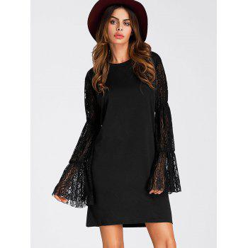 Segmented Long Sleeve Straight Dress - BLACK M