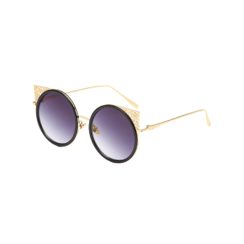 Metal Hollow Out Frame Round Sunglasses - GOLDEN/GREY