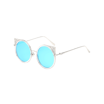 Metal Hollow Out Frame Round Sunglasses - CRYSTAL BLUE