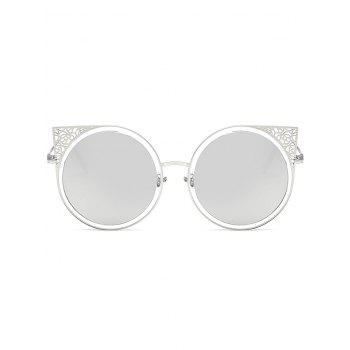 Metal Hollow Out Frame Round Sunglasses - SILVER FRAME / GREEN MERCURY LENS