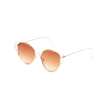 Anti UV Hollow Out Oval Sunglasses - BROWN